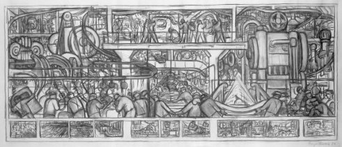 Boceto para el muro sur | Mural Diego Rivera | Detroit Institute of Arts